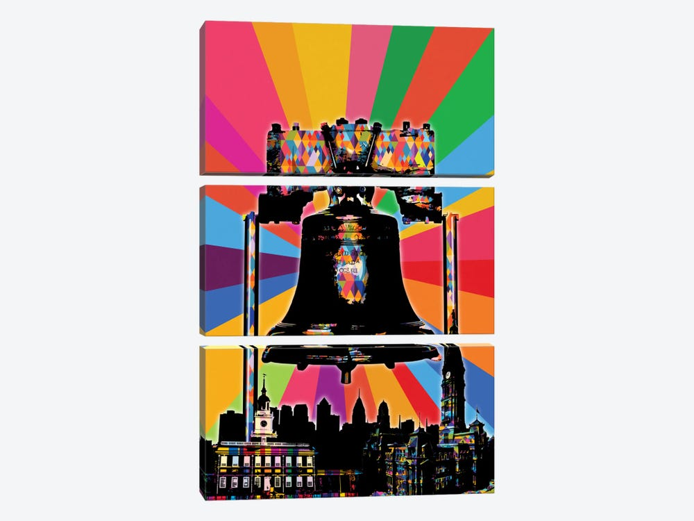 Philadelphia Psychedelic Pop by 5by5collective 3-piece Canvas Wall Art