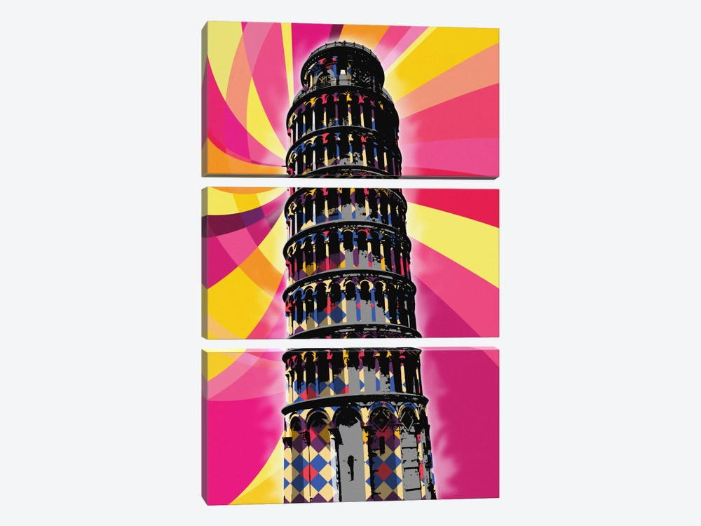 Pisa Psychedelic Pop by 5by5collective 3-piece Art Print