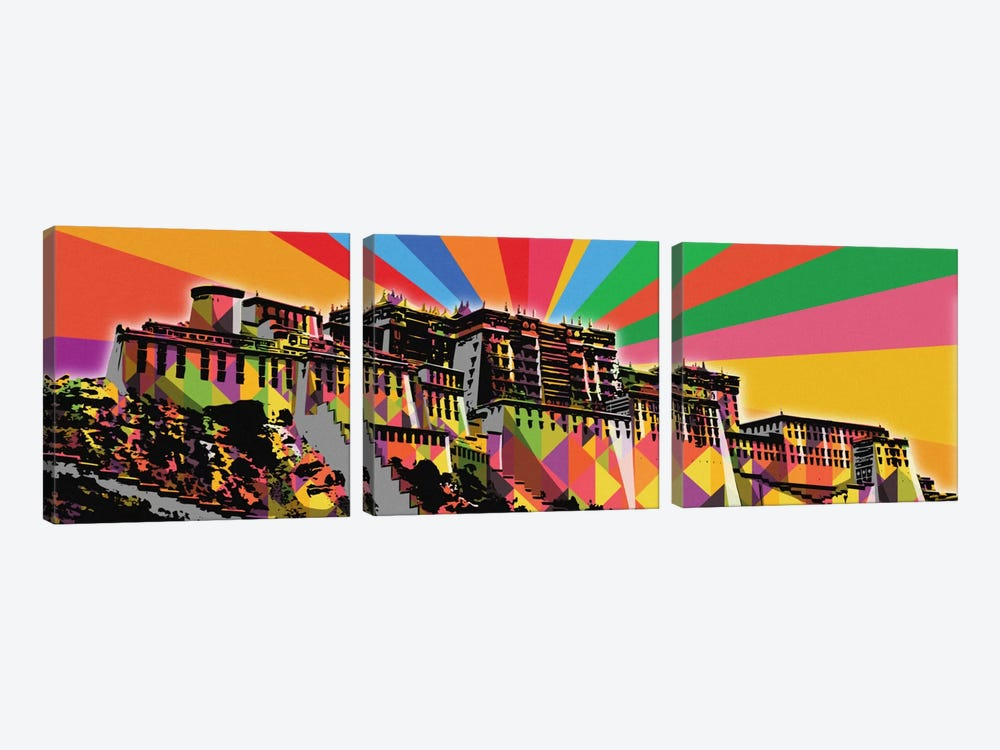 Potala Palace Psychedelic Pop by 5by5collective 3-piece Canvas Artwork