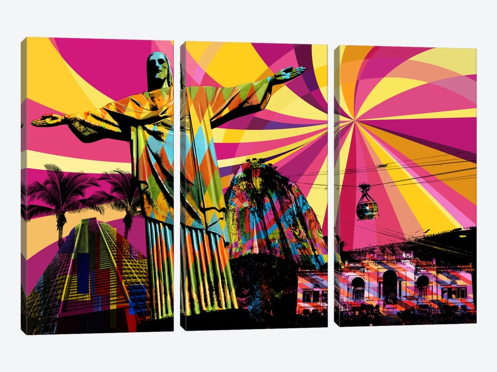 Rio Psychedelic Pop by 5by5collective 3-piece Canvas Print