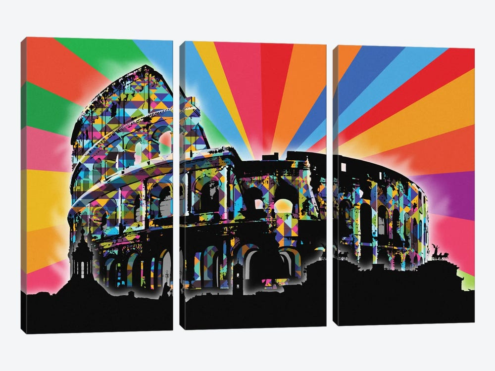 Rome Psychedelic Pop by 5by5collective 3-piece Canvas Art Print
