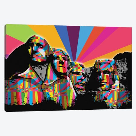 Mount Rushmore Psychedelic Pop Canvas Print #ICA671} by 5by5collective Canvas Art Print