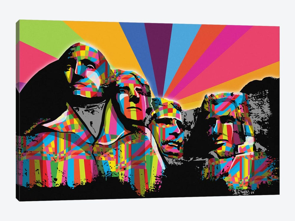 Mount Rushmore Psychedelic Pop by 5by5collective 1-piece Canvas Wall Art