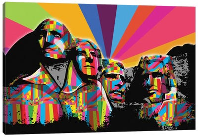 Mount Rushmore Psychedelic Pop Canvas Art Print