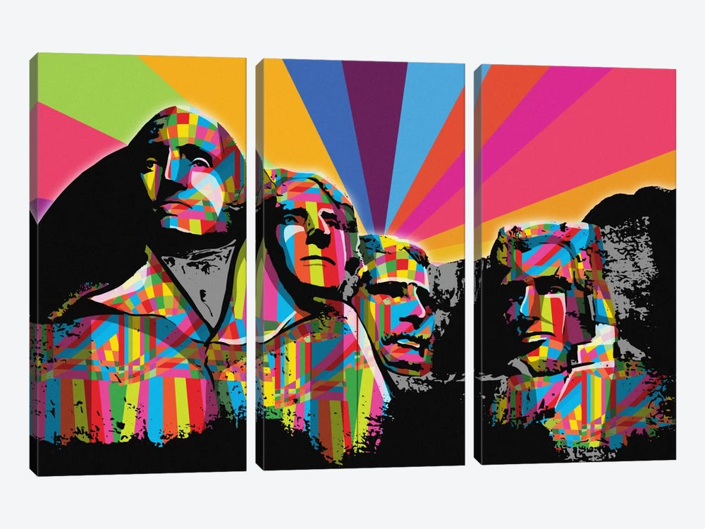 Mount Rushmore Psychedelic Pop by 5by5collective 3-piece Canvas Art