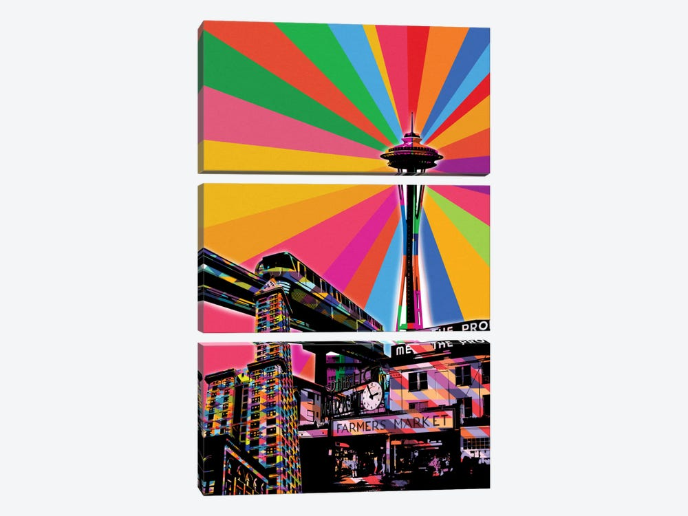 Seattle Psychedelic Pop by 5by5collective 3-piece Canvas Print