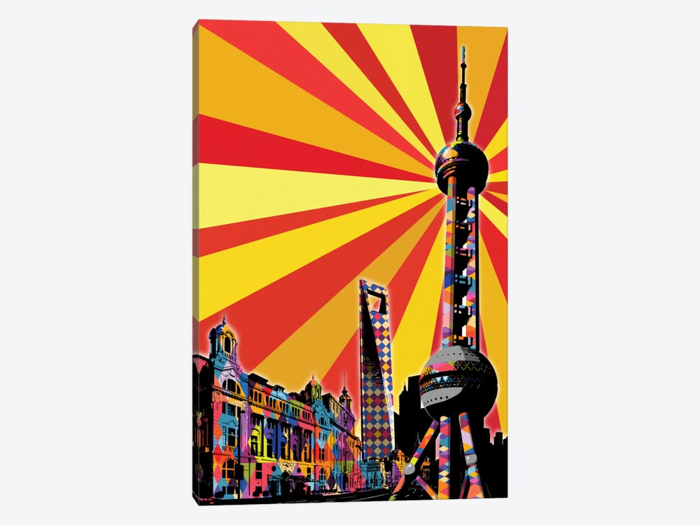 Shanghai Psychedelic Pop by 5by5collective 1-piece Canvas Art