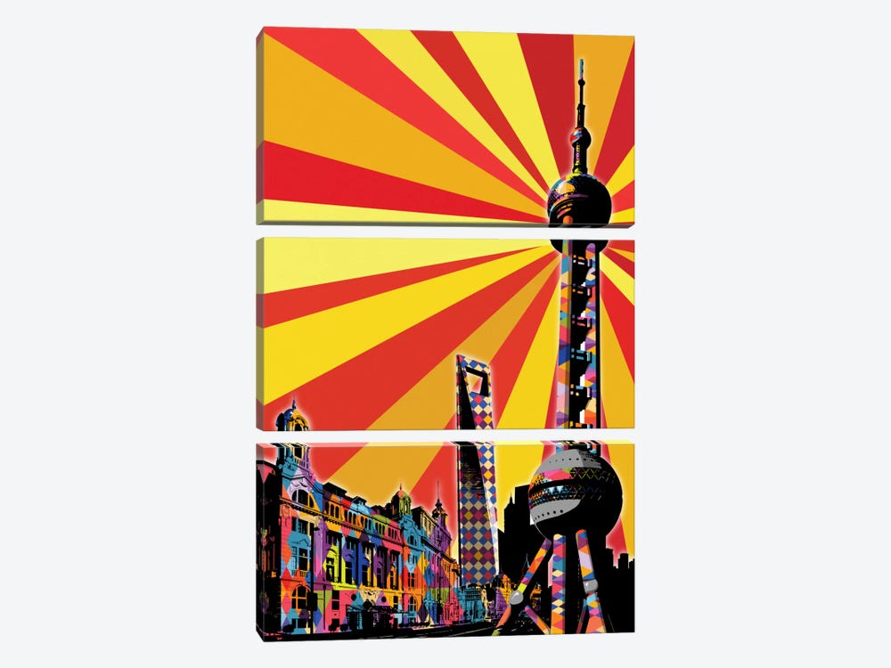 Shanghai Psychedelic Pop by 5by5collective 3-piece Canvas Wall Art