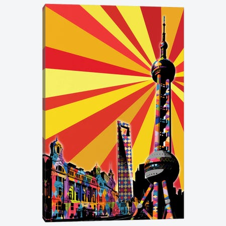 Shanghai Psychedelic Pop Canvas Print #ICA673} by 5by5collective Canvas Print