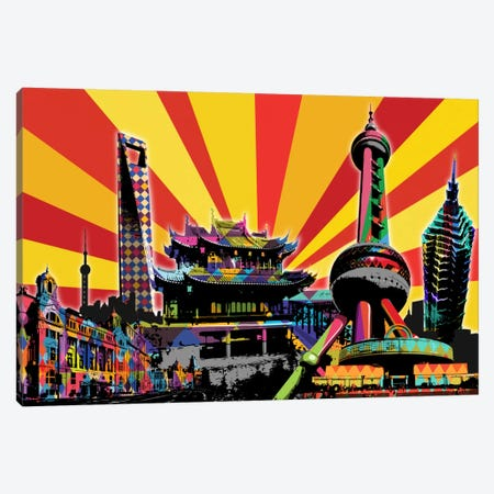Shanghai Psychedelic Pop 2 Canvas Print #ICA674} by 5by5collective Canvas Art