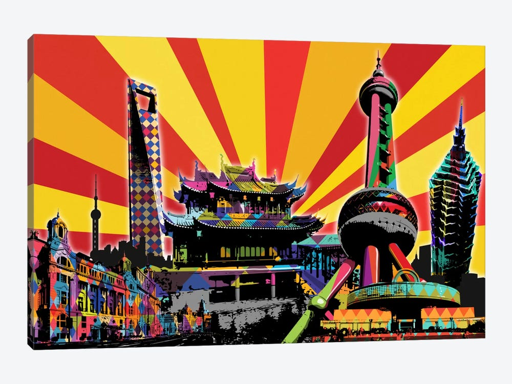 Shanghai Psychedelic Pop 2 by 5by5collective 1-piece Canvas Art Print