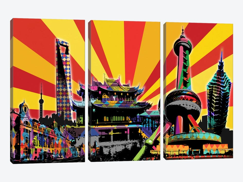 Shanghai Psychedelic Pop 2 by 5by5collective 3-piece Canvas Print