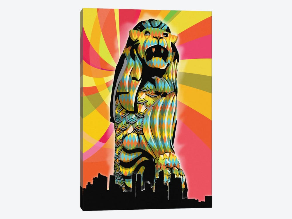 Singapore Psychedelic Pop by 5by5collective 1-piece Canvas Wall Art