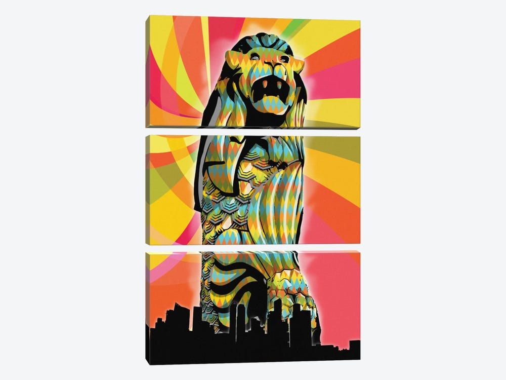 Singapore Psychedelic Pop by 5by5collective 3-piece Canvas Artwork