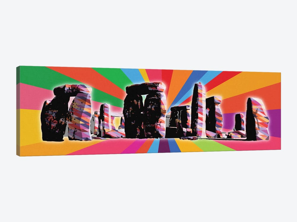 Stonehenge Psychedelic Pop by 5by5collective 1-piece Canvas Wall Art
