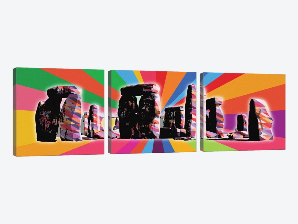 Stonehenge Psychedelic Pop by 5by5collective 3-piece Canvas Art