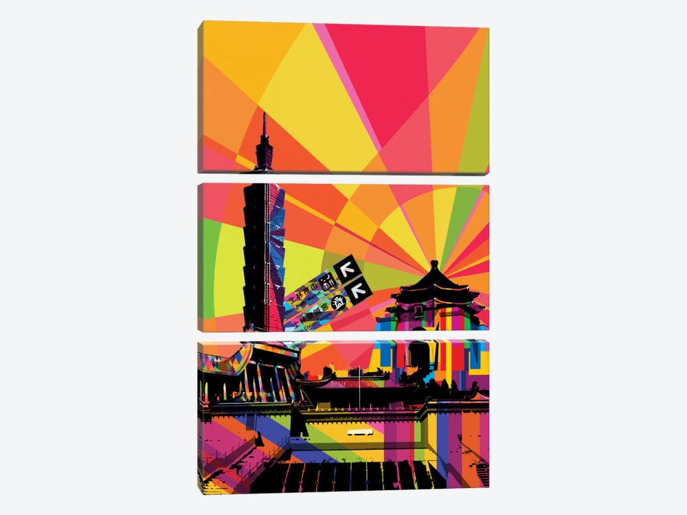Taipei Psychedelic Pop by 5by5collective 3-piece Canvas Art Print