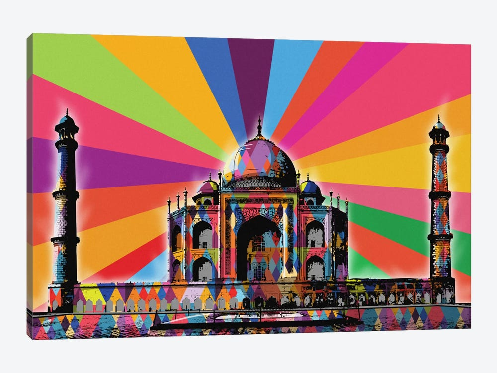 Taj Mahal Psychedelic Pop by 5by5collective 1-piece Canvas Art