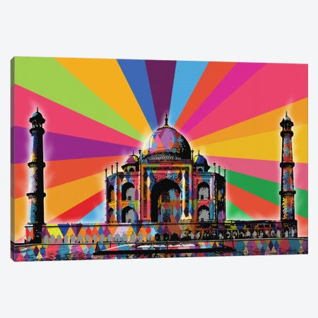 Taj Mahal Psychedelic Pop Canvas Print #ICA679} by 5by5collective Art Print