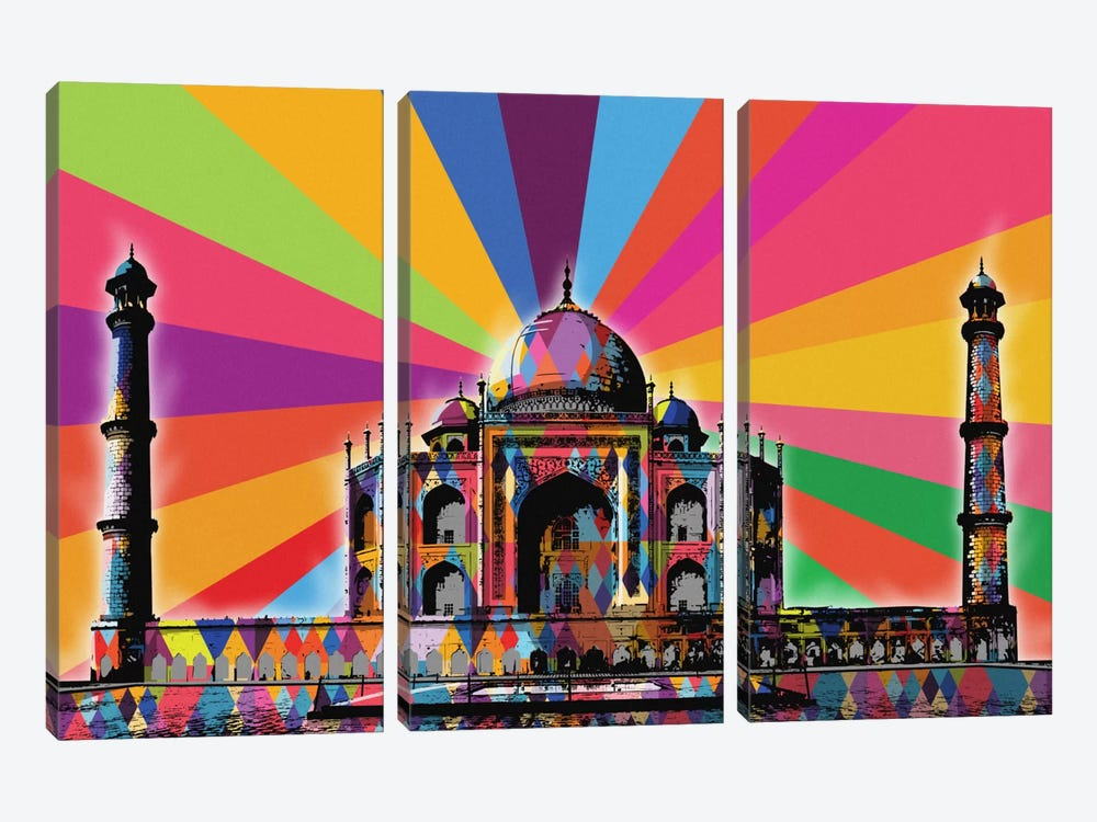 Taj Mahal Psychedelic Pop by 5by5collective 3-piece Canvas Wall Art