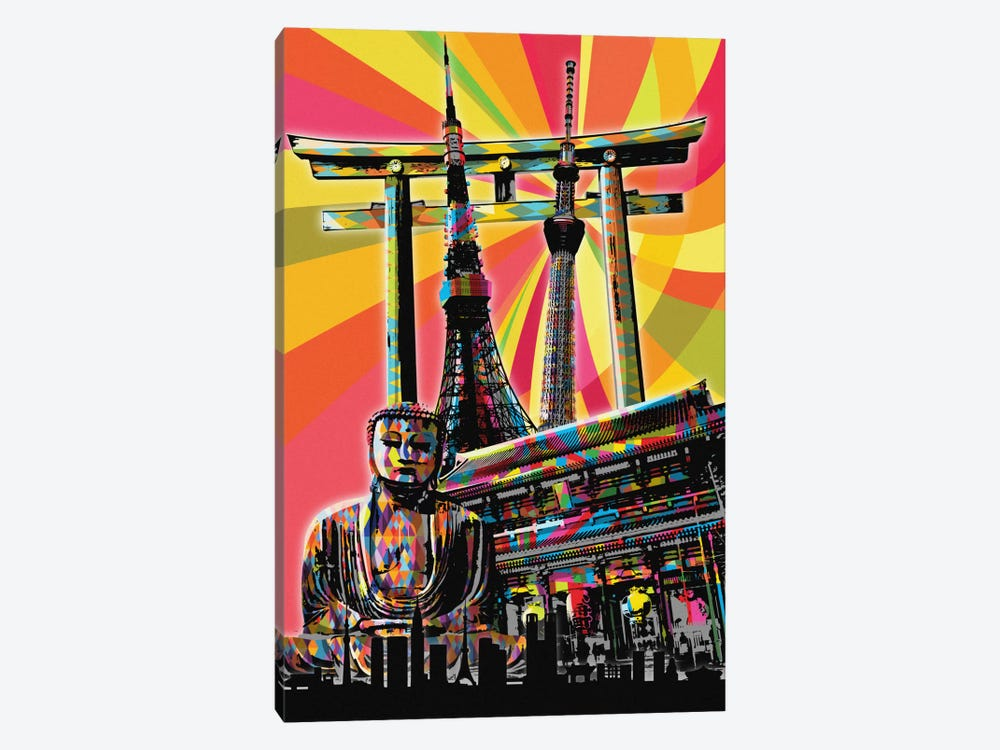 Tokyo Psychedelic Pop by 5by5collective 1-piece Canvas Wall Art