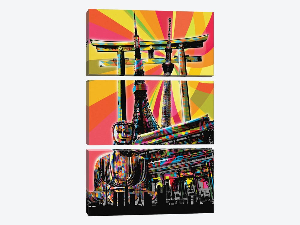 Tokyo Psychedelic Pop by 5by5collective 3-piece Canvas Artwork