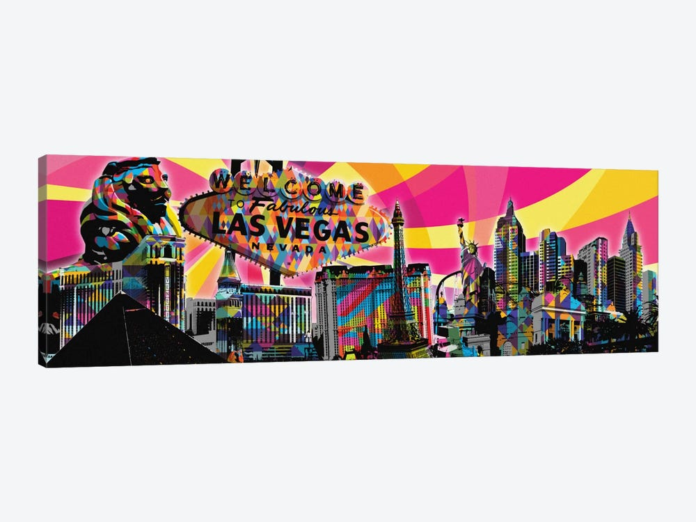 Las Vegas Psychedelic Pop by 5by5collective 1-piece Canvas Print