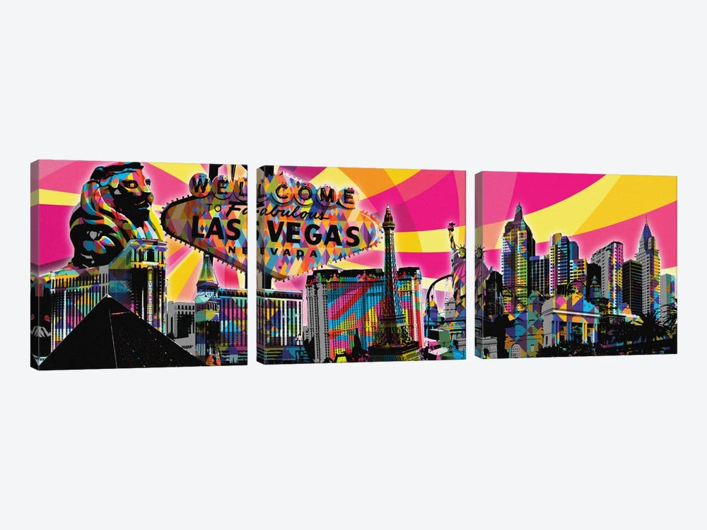 Las Vegas Psychedelic Pop by 5by5collective 3-piece Canvas Art Print
