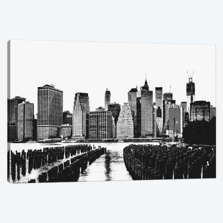 Manhattan Black & White Skyline Canvas Print #ICA684} by Unknown Artist Canvas Art Print