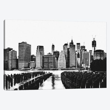 Manhattan Black & White Skyline Canvas Print #ICA684} by Unknown Artist Canvas Art Print