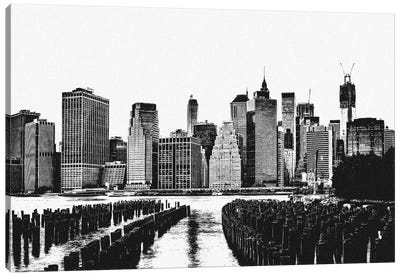 Manhattan Black & White Skyline Canvas Print #ICA684