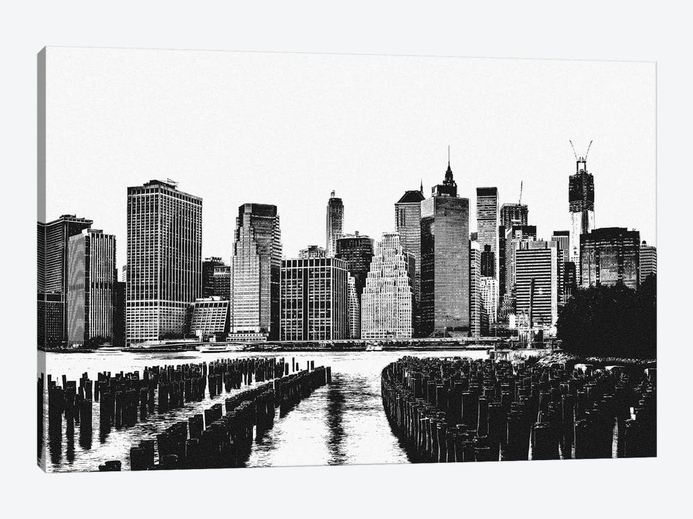 Manhattan Black & White Skyline by Unknown Artist 1-piece Canvas Wall Art