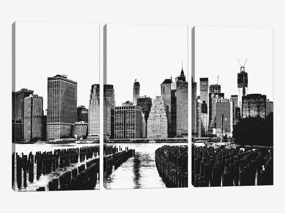 Manhattan Black & White Skyline by iCanvas 3-piece Canvas Art