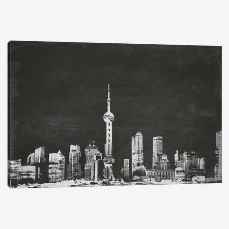 Shanghai Skyline (B&W) Canvas Print #ICA686} by Unknown Artist Art Print