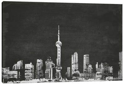 Shanghai Skyline (B&W) Canvas Art Print