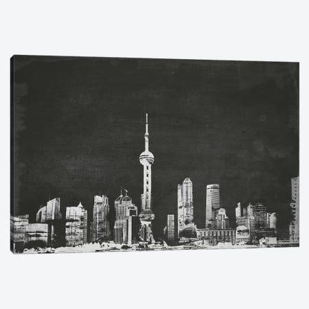 Shanghai Skyline (B&W) Canvas Print #ICA686} by Unknown Artist Art Print