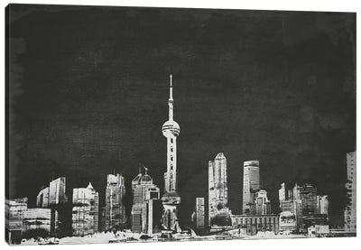 Shanghai Skyline (B&W) Canvas Art Print