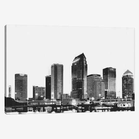 Tampa Black & White Skyline Canvas Print #ICA687} by iCanvas Art Print