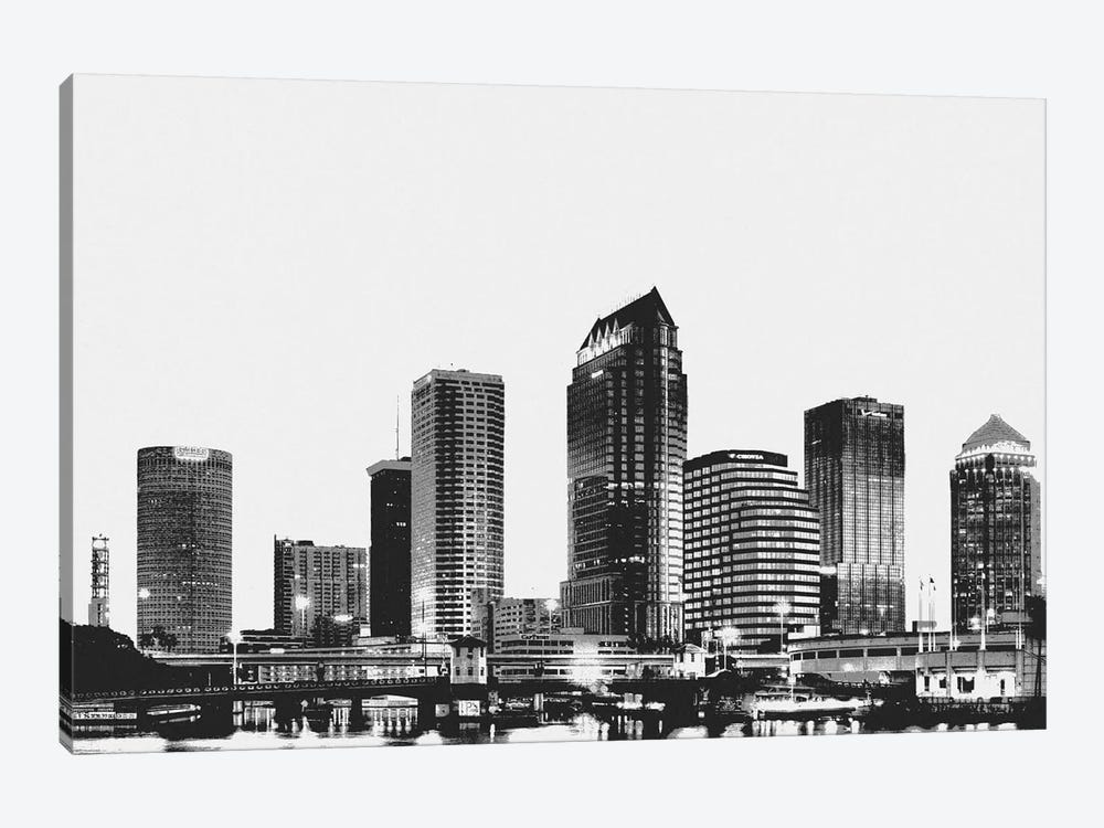 Tampa Black & White Skyline by Unknown Artist 1-piece Canvas Art Print