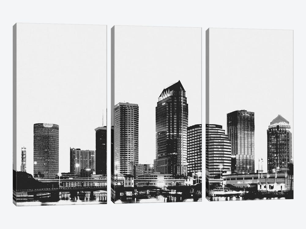 Tampa Black & White Skyline by Unknown Artist 3-piece Canvas Art Print