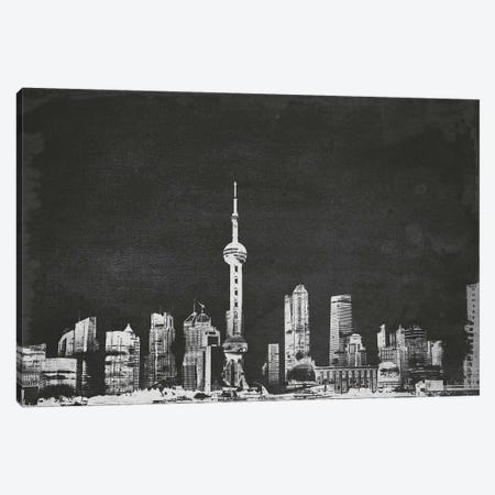 Vintage Shanghai Skyline Canvas Print #ICA688} by Unknown Artist Canvas Art