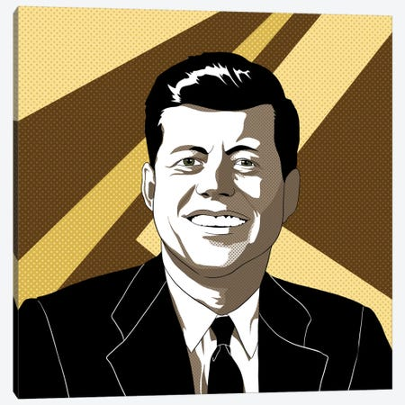 JFK in Shades of Bronze Canvas Print #ICA724} by 5by5collective Canvas Wall Art