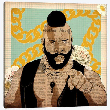 Mr. T with Chains Canvas Print #ICA734} by 5by5collective Canvas Art Print