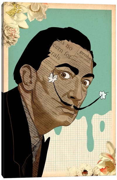 Flower Mustache For Dali Canvas Art Print