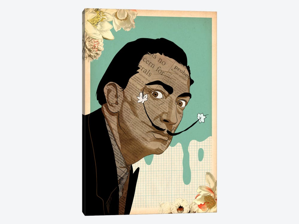 Flower Mustache For Dali by 5by5collective 1-piece Canvas Wall Art