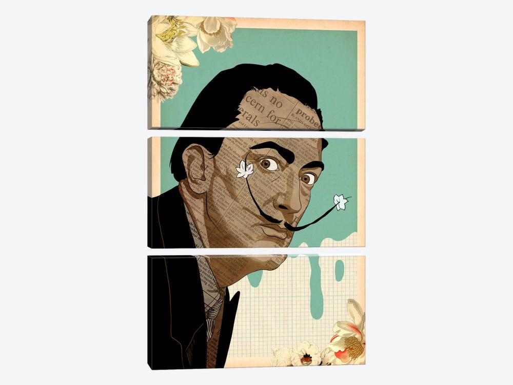 Flower Mustache For Dali by 5by5collective 3-piece Canvas Art