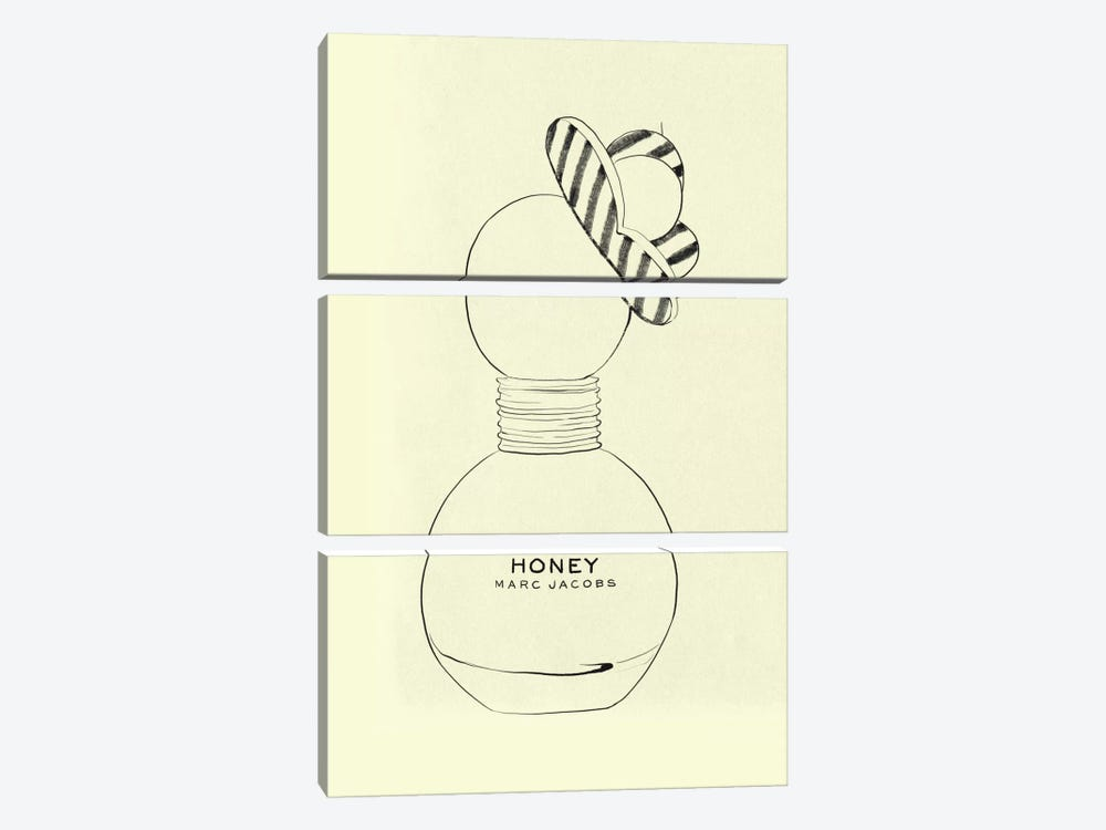 Sweet As Honey Minimalist Line Art by 5by5collective 3-piece Canvas Art Print