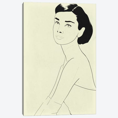 Audrey Hepburn Minimalist Line Art Canvas Print #ICA774} by 5by5collective Art Print