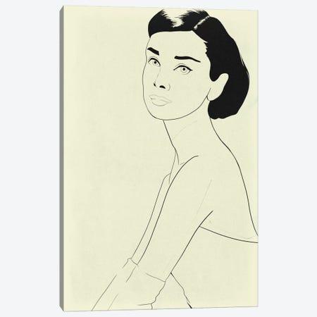 Audrey Hepburn Minimalist Line Art Canvas Print #ICA774} by 5by5collective Art Print