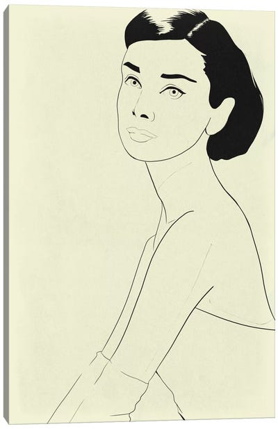 Audrey Hepburn Minimalist Line Art Canvas Art Print